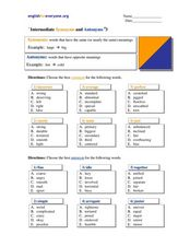 Intermediate Synonyms and Antonyms #3 Worksheet