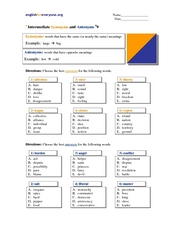 Intermediate Synonyms and Antonyms #9 Worksheet