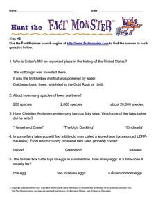 Internet Fact Hunt at Fact Monster- May #2 Worksheet