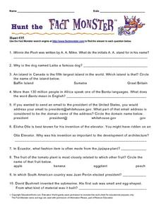 "Internet Fact Hunt at the ""Fact Monster"" Web Site- Hunt #35 Worksheet"