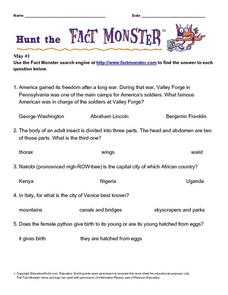 "Internet Fact Hunt at the ""Fact Monster"" Web Site- May #1 Worksheet"