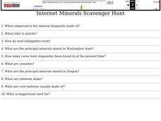 Internet Minerals Scavenger Hunt Worksheet