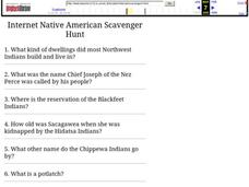 Internet Native American Scavenger Hunt Worksheet
