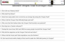 Internet Oregon Trail Scavenger Hunt Lesson Plan