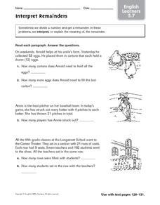interpret remainders ell 5th 6th grade worksheet lesson planet. Black Bedroom Furniture Sets. Home Design Ideas