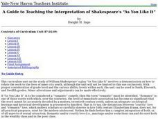 "Interpretation of Shakespeare's ""As You Like It"" Lesson Plan"
