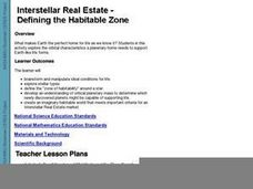 Interstellar Real Estate - Defining The Habitable Zone Lesson Plan
