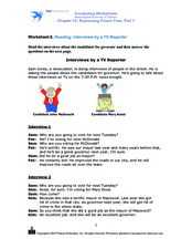 Interview by a TV Reporter: Future Time Activity Worksheet