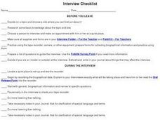 Interview Checklist Worksheet