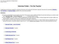 Interview Folder - For the Teacher Worksheet