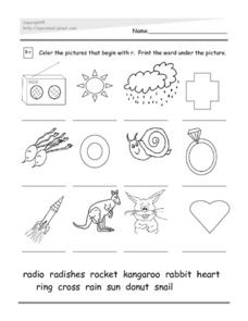 Intial R: Word Match Worksheet