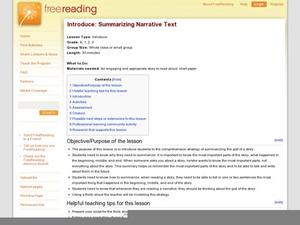 Introduce: Summarizing Narrative Text Lesson Plan
