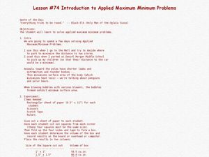 Introduction to Applied Maximum Minimum Problems Lesson Plan