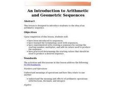 Introduction to Arithmetic and Geometric Sequences Lesson Plan