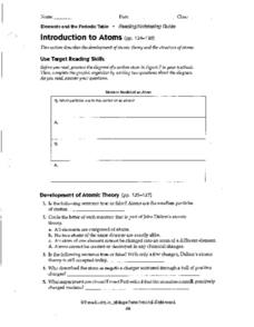 Introduction to Atoms Worksheet
