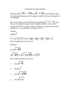 Introduction to Complex Numbers Worksheet