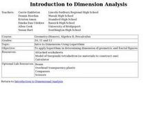 Introduction to Dimension Analysis Lesson Plan