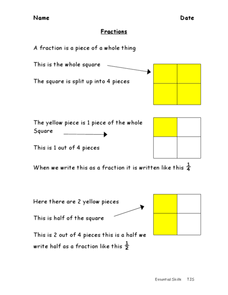 Introduction to Fractions: Halves, Thirds, Fourths Worksheet