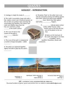 Introduction to Geology Quiz Worksheet Lesson Plan