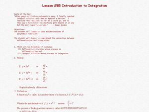 Introduction To Integration Lesson Plan