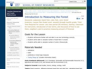 Introduction to Measuring the Forest Lesson Plan