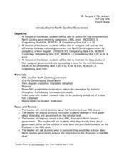 Introduction To North Carolina Government Lesson Plan