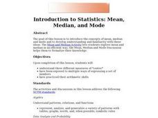 Introduction to Statistics: Mean, Median, and Mode Lesson Plan