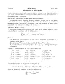 Introduction to Taylor Series Worksheet