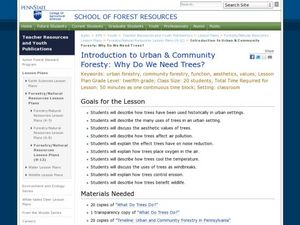 Introduction to Urban & Community Forestry: Why Do We Need Trees? Lesson Plan