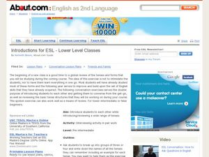Introductory Lesson for Lower Intermediate Classes Lesson Plan