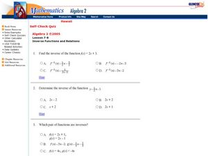 Inverse Functions and Relations Worksheet
