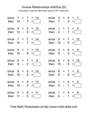 Inverse Relationships Add/Sub (D) Worksheet