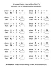 Inverse Relationships Multiplication and Division [C] Worksheet