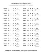 Inverse Relationships Multiplication and Division [D] Worksheet