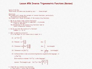 Inverse Trigonometric Functions (Review) Lesson Plan