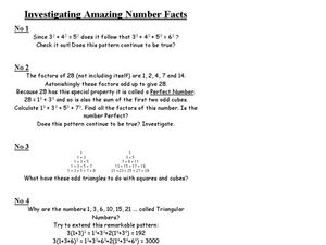 Investigating Amazing Number Facts Worksheet