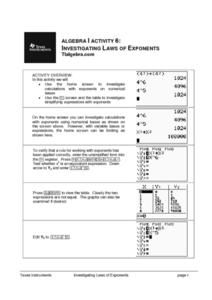 Investigating Laws of Exponents Lesson Plan