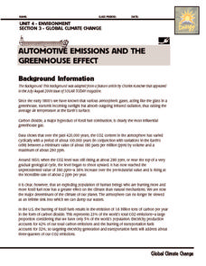 investigation automotive emissions and the greenhouse effect 6th 8th grade worksheet lesson. Black Bedroom Furniture Sets. Home Design Ideas