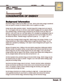 law of conservation of energy worksheet pdf