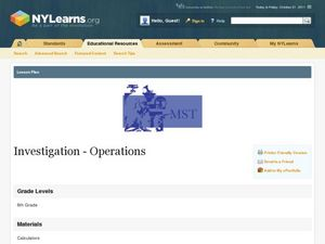 Investigation - Operations Lesson Plan