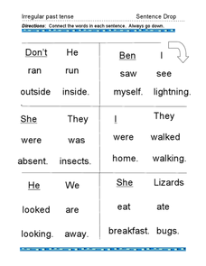 Irregular Past Tense: Sentence Drop Worksheet