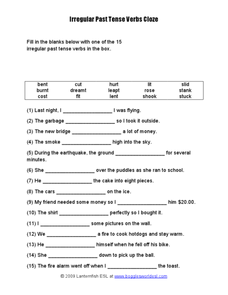 Irregular Past Tense Verbs Worksheet