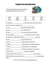 Irregular Past Tense Worksheet