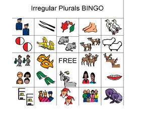 Irregular plurals bingo in this irregular plurals activity students
