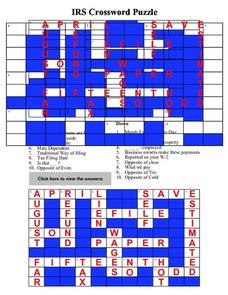 IRS Crossword Puzzle Worksheet
