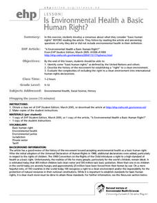 Is Environmental Health a Basic Human Right? Lesson Plan