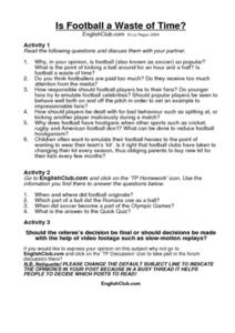 Is Football a Waste of Time? Worksheet