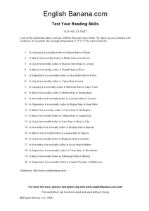 Is It Hot, Or Not? Worksheet