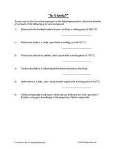 Is it Ionic? Worksheet