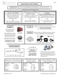 Isaac Newton's 3 Laws of Motion 9th - 12th Grade Worksheet | Lesson ...